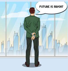 Pop art businessman looking at city vector