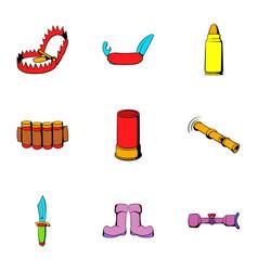 Hunt icons set cartoon style vector