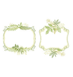 frame set with green plant leaves ornament vector image