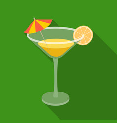 Lemon cocktail icon in flate style isolated on vector