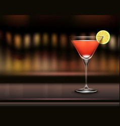 Glass of cosmopolitan cocktail vector