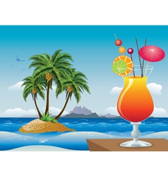 Cocktail on the beach vector image