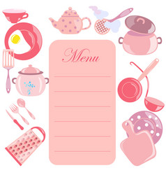 Menu leaf with pink color utensils vector