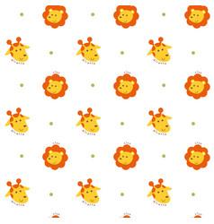 Seamless pattern lion and giraffe vector