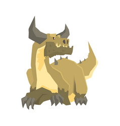 horned dragon monster mythical and fantastic vector image
