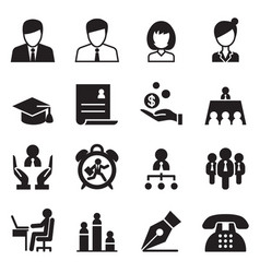 Human resource business management icons set vector