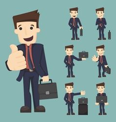 Set of businessman with bag vector