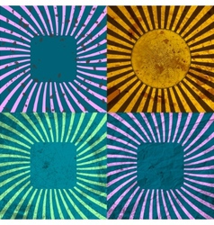 Set vintage colored rays background eps10 vector