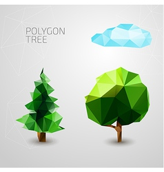 Set of polygons trees spruce cloud vector