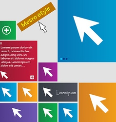 Cursor arrow icon sign metro style buttons modern vector