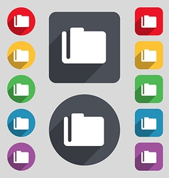 Document folder icon sign a set of 12 colored vector