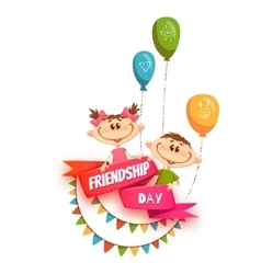 Red ribbon with friendship day title children vector