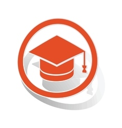 Graduation sign sticker orange vector