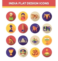 Set of flat design india travel icons and vector