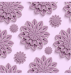 Seamless pattern with purple 3d paper flowers vector