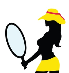 Girl with mirror silhouette vector