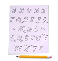 Alphabet on page with yellow pencil vector
