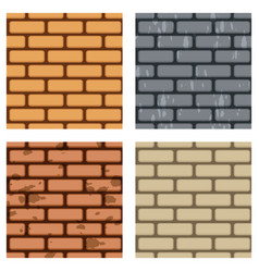 brick wall seamless pattern set vector image