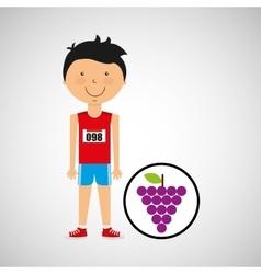 Cartoon boy athlete with grape vector