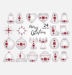 christmas elements with ukrainian embroidery vector image