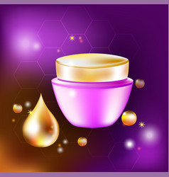 cream jar with a drop and glares for vector image
