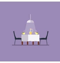 Dining table and chairs flat style vector