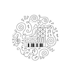 Doodle piano coloring page vector