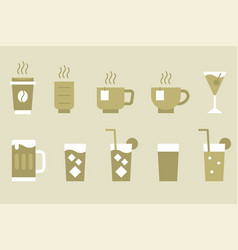 Drinks and beverage monotone icon set vector