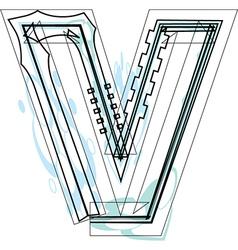 Font letter v vector image vector image