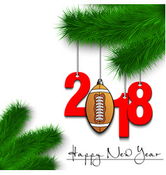 Football ball and 2018 on a christmas tree branch vector