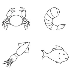 Four seafood icons vector image