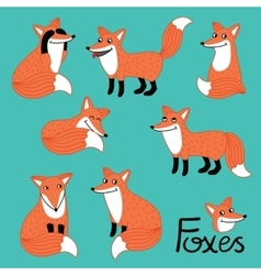 Funny fox hand drawn characters set vector