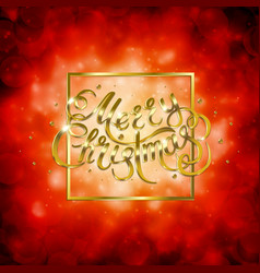 golden text on red background merry christmas and vector image