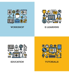 icons of workshop e-learning education tutorials vector image vector image