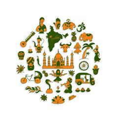indian icons circle set vector image