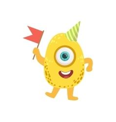 Jelly bean friendly monster with flag vector