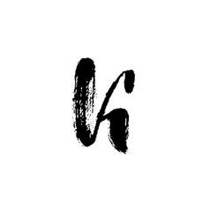 letter k handwritten by dry brush rough strokes vector image