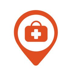map pin icon hospital vector image