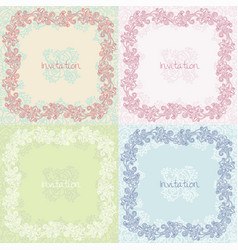 Ornate floral invitation cards set vector