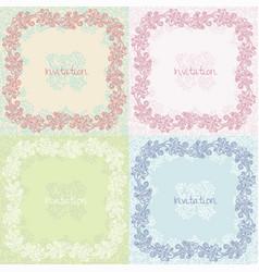ornate floral invitation cards set vector image vector image
