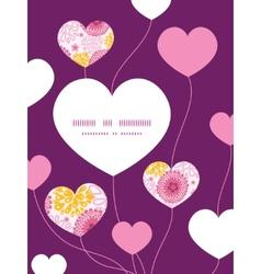 Pink field flowers heart symbol frame pattern vector