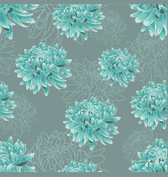 Seamless pattern with turqouise chrysanthemums vector