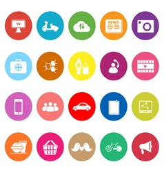Social network flat icons on white background vector image vector image
