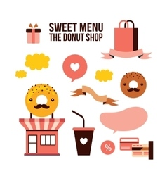 Sweet menu delicious dessert donut shop food vector