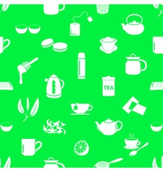 tea theme simple icons seamless pattern eps10 vector image vector image
