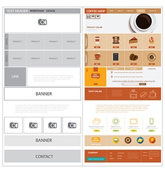Website wireframe template and mock up vector