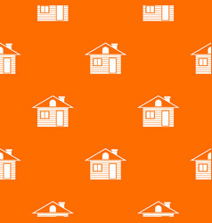 Wooden log house pattern seamless vector
