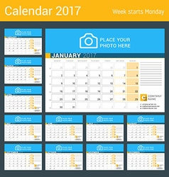 Desk calendar for 2017 year set of 12 months vector