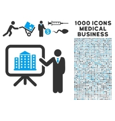 Realty presention icon with 1000 medical business vector