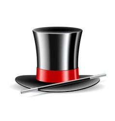 Magic hat and magic wand on white background vector